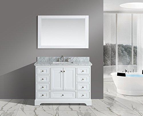 "Urban Furnishing - Jocelyn 48-Inch (48"") Bathroom Sink Vanity Set with White Italian Carrara Marble Top - White"
