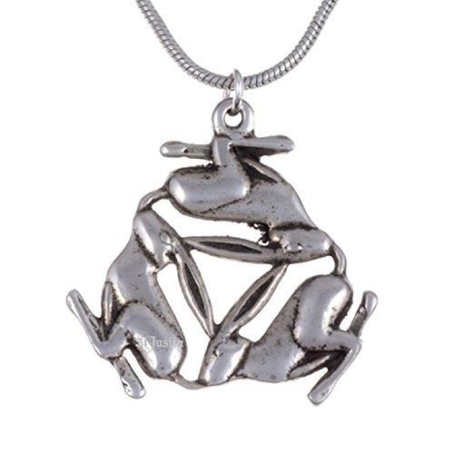 St Justin, Pewter Three Hares Pendant - 18' Snake