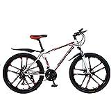 XXXSUNNY Bicicletas de montaña para Hombre de 26 Pulgadas, Bicicletas con Frenos de Disco, Bicicletas de montaña Profesionales ultraligeras Cuadro Fuerte aleación Aluminio,27/White~Red,Carbon Steel