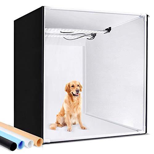 SAMTIAN Fotostudio, 100x100x100cm dimmbare Faltbare Lichtzelt professionelle Fotobox Kit LED Beleuchtung Fotozelt mit 4 Hintergründe (weiß, schwarz, orange, blau)