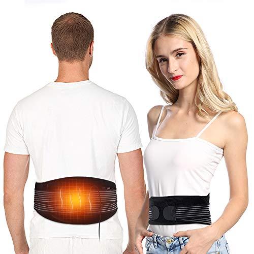 Heizung Massage Gürtel Wärmegürtel Rücken, USB Heizgürtel Elektrischer Rückenwärmer Heizkissen Bauch Taille Gürtel Wickeln für Warmer Bauch, Taillenschmerzen und Ischias Schmerzlinderung, für Unisex
