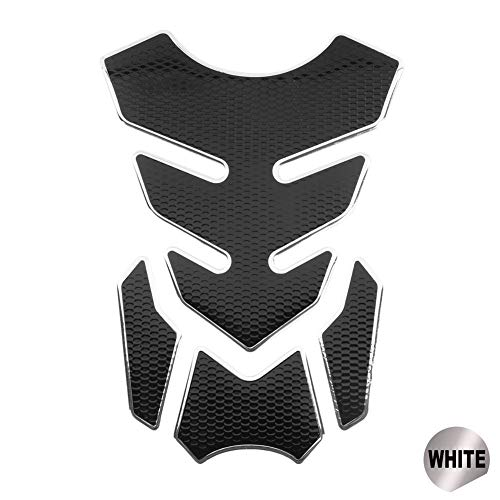 Motorcycle Brandstoftank Sticker Rubber Motorcycle Stickers Motor Decals Grappige Decoratie sticker for Gas brandstofolietank Motor accessoires Tank Pad Protector (Color : WHITE)