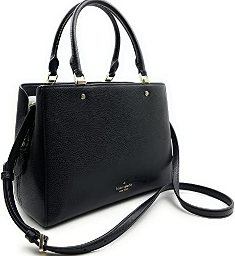 Kate Spade Leila Medium Triple Compartment Satchel Women's Leather Handbag (Black)