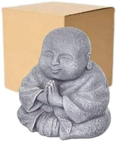 Happy Praying Buddha Statue Figurine - Home and Garden Laughing Buddha Decoration - Fat Smiling Buddha Sculpture Decor, Indoor and Outdoor Use