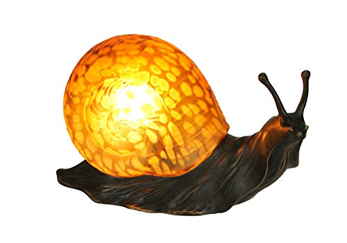 Amber Glass Art Shell Metal Snail Figurine Accent Lamp