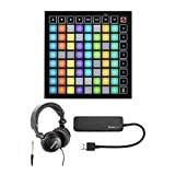 Novation Launchpad Mini MK3 Grid Controller for Ableton Live Bundle with Headphones and Knox 4 Port 3.0 USB Hub (3 Items)