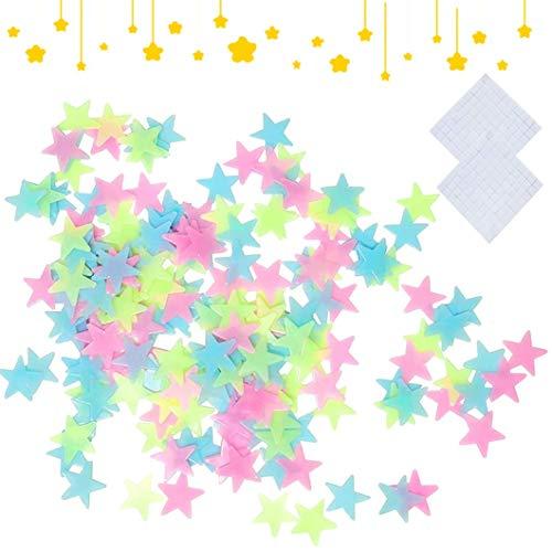 Leucht Sterne,200 Stück 3D Sterne Wandsticker Leuchtaufkleber Leuchtsticker Fluoreszierend Wand Aufkleber Plastik mit Selbstklebend Sticker für Kinderzimmer Zimmer Home Dekorative