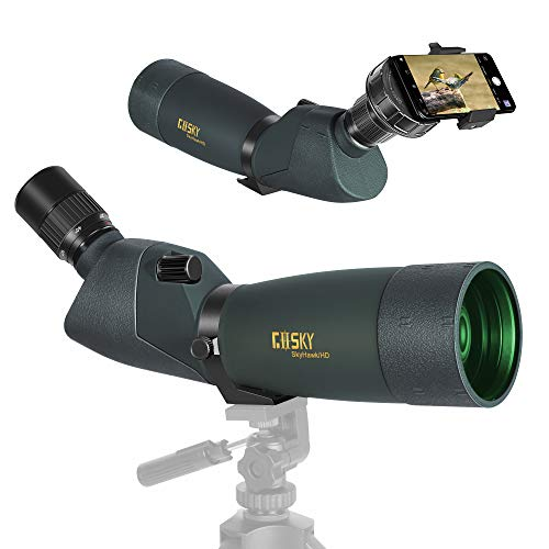 Gosky Spotting Scope 20-60x 82mm Scopes - BAK4 45 Degree Angled Eyepiece Scope for Target Shooting Hunting Bird Watching with Scope Smartphone Adapter