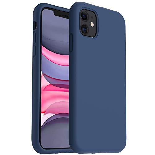 ORNARTO Silikon Hülle für iPhone 11, Verstärkte Stoßfeste Flüssige Silikon Gel Gummi Ganzkörper Schutz Stoßstange Abdeckungs Handyhülle für iPhone 11 (2019) 6,1 Zoll-Piniengrün
