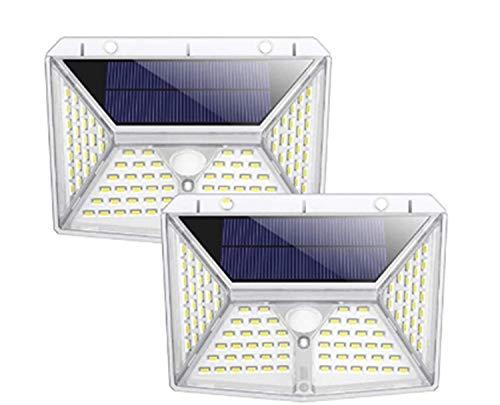 Solarlampen für Außen, QTshine [98 LED 2000mAh] Solarleuchte Garten mit Bewegungsmelder, 270° Superhelle Solarlicht, Wasserdichte Gartenbeleuchtung Solar Wandleuchte Aussen Außenleuchte 3 Modi-2 Stück