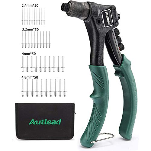 Rivet Gun with 200-Piece Rivets, Single Hand Manual Rivet Gun Kit With Storage Bag, 4 Tool-free Interchangeable Color-Coded Heads, 4 in 1 Hand Riveter Set - AHR01B
