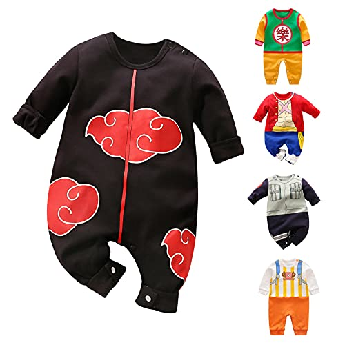 YFYBaby Newborn Baby Boys Girls Anime Romper Cotton Long Sleeve Infant Cosplay Costume Jumpsuit Outfit, A-black, 12-24 Months