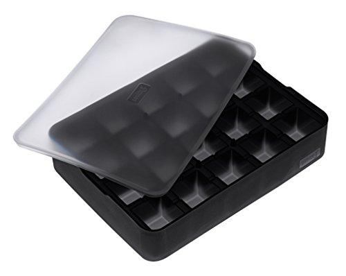 Lurch 240705 Moule à glace « Cube » en silicone 100 % platine sans BPA avec couvercle pour 20 glaçons (3 x 3 cm), noir