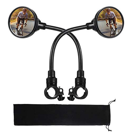 2 Pieces Bike Mirror Bicycle Rear View Mirror Adjustable 360 Degree Rotatable Shockproof Acrylic Convex Safety Mirror for Mountain Road Bike