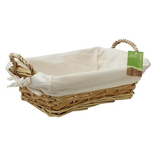 JVL 15-763 Rectangular Split Willow Lined Bread Basket with Loop Handles, Brown, 28 x 21 x 9 cm approximately