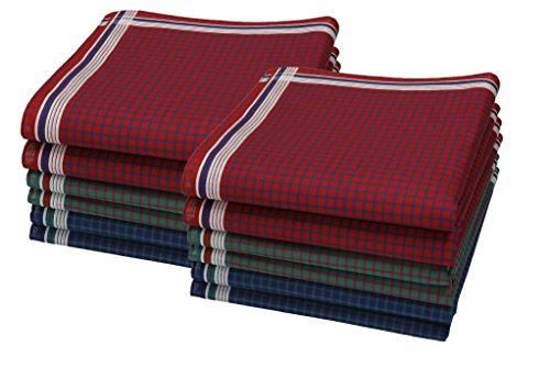 Betz Juego de pañuelos LEO 5 de tejido para caballeros 100% algodón 40x40 cm diseño 6 Color rojo verde azul 12 piezas