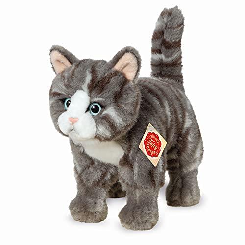 Teddy Hermann 91822 Katze 20 cm, Kuscheltier, Plüschtier, grau getigert