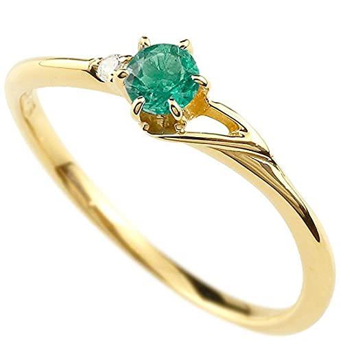 [アトラス]Atrus 指輪 レディース 18金 イエローゴールドk18 エメラルド ダイヤモンド イニシャル ネーム T ピンキーリング 華奢 アルファベット 5月誕生石 26号