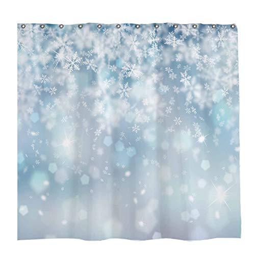 Allenjoy 72x72 inch Winter Shower Curtain Set with 12 Hooks Falling Snowflake Bokeh Ice Frozen Wonderland Bathroom Curtain Durable Waterproof Fabric Bathtub Sets Home Decor