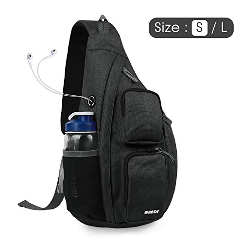 WANDF Sling Bag One Strap Backpack Travel Crossbody Backpack Water-Resistant (S- Dark Grey, Small)
