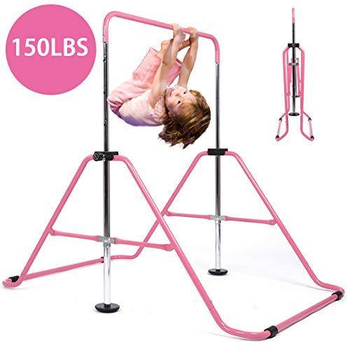 My Quality Life Gymnastics Bar Kids Expandable Gymnastic Bars Equipment for Home Adjustable Height Folding Kip Junior Training Bar 3-7 Years Old (Pink)