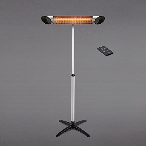veito Blade S Design Infrarot Heizstrahler 2500 Watt, Fernbedienung, 4 Heizstufen Dimmer, Terrassenheizer, Infrarotstrahler elektrisch, inkl. Teleskostativ