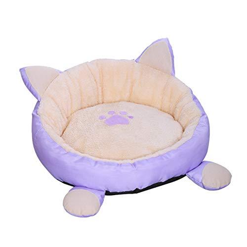 Rehomy, lettino per gatti rotondo, lavabile in lavatrice, con fondo antiscivolo, impermeabile, cuscino abbinato per gatti, cani di piccola taglia (viola chiaro)