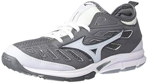 Mizuno Women's Players Trainer 2 Fastpitch Turf Softball Shoe, Grey/Black, 7.5 B US