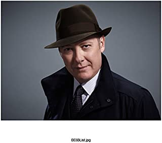The Blacklist (TV Series 2013 - ) 8 Inch x10 Inch James Spader Blue Jacket Over Black Suit Black Hat Blue Background Slight Smile kn