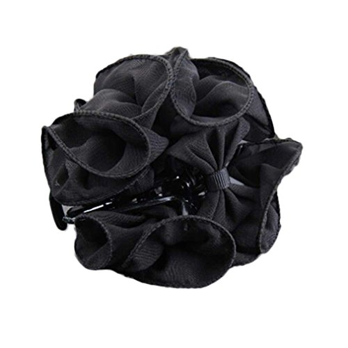 Gemini_mall® Womens Girls Fashion Rose Flower Large Hair Claw Clip Clamp Barrette Accessories Gift (Black)