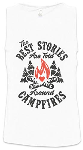 Urban Backwoods The Best Stories Are Told Around Campfires Hombre Camiseta Sin Mangas Men Tank Top Blanco Talla S