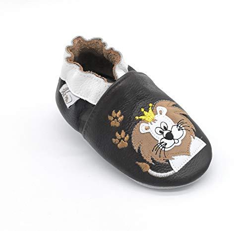 pantofole bambino leone LEPEPPE - Nuova Leone - Scarpine in Morbida Pelle Prima Infanzia - Pantofole Bambino - Suola in Pelle Antiscivolo - Scarpette Fino al 32/33 (x_l)