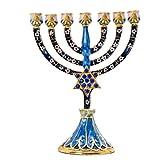 JONJUMP 7 Portavelas Menorah con diamantes de imitación judío Israel Jerusalén templo Menorah Jerusalén regalo