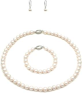JSEA Womens Jewelry Set Simulated Shell Pearl Choker Necklace Bead Bracelet Dangle Earrings Jewelry Set