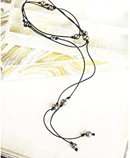 Long Leather Black Pearl Lariat wrap necklace - 60 inches - Third anniversary gift for wife, girlfriend. present for sister mom aunt best friend. wear as a bracelet