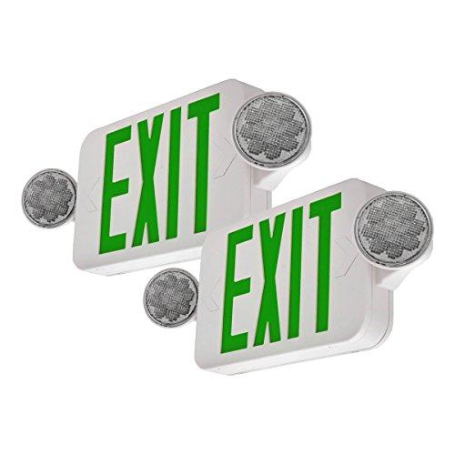 UL Certified Hardwired Edge Light Green LED Exit Sign Rotating Panel ELRTG Battery Backup LFI Lights