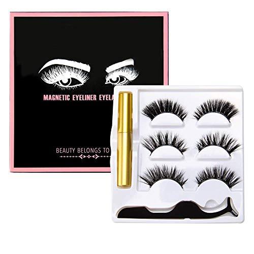 LEONMAR Magnetische Eyeliner mit Magnetische Wimpern Set, 3D Künstliche Magnetische Wimpern, 5 Magnete Wimpern Mit Wasserdichtem Langlebigem, Wiederverwendbare Falsche Magnetic Eyelashes (5 Wimpern)