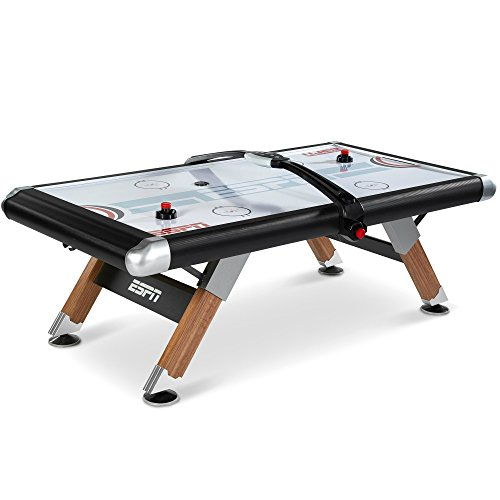 ESPN Air Hockey Table with Overhead Electronic Scorer and Table Cover Family Indoor Game 8 Ft.
