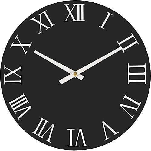 Foxtop Reloj de pared redondo elegante y moderno, de madera, sin tictac,...