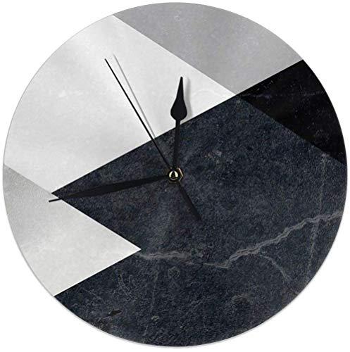Mesllings Geometrics - Reloj de pared redondo de mármol y plata para decoración del hogar, 25 cm