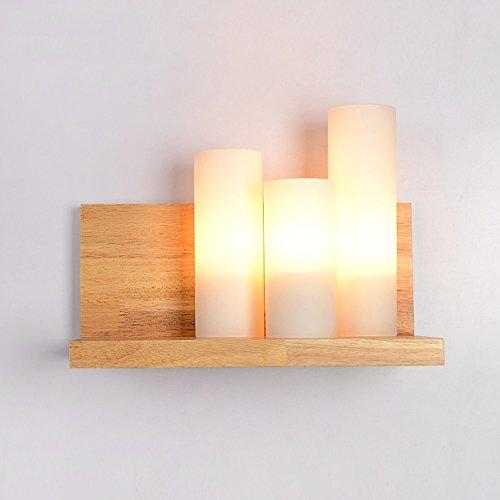 KMYX wandlamp van antiek glas, romantische wandlamp van hout, voor kinderkamer, nachtlampje, hal, wandlamp, voor badkamer, spanning: 110 ~ 240 V