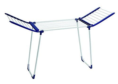 Leifheit Standtrockner Pegasus 120 Solid Compact Blau, standfester Wäscheständer mit 12 m Trockenlänge und Flügeln, besonders schmaler Flügelwäschetrockner passt auch durch enge Türen