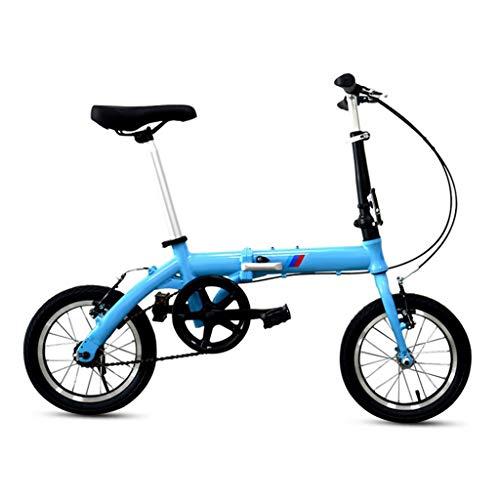 LXJ Bicicleta Plegable Ultraligera De 14 Pulgadas, Cuadro De Aleación De Aluminio, Freno En V De Una Velocidad, Adecuado For Hombres Y Mujeres Adultos, Bicicletas Urbanas, Azul