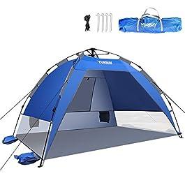 Yorbay Tente de Plage Pop-up Anti UV50+ Portable Montage Instantané pour 2 ou 3 Personnes Extérieure Camping Plage Pêche…