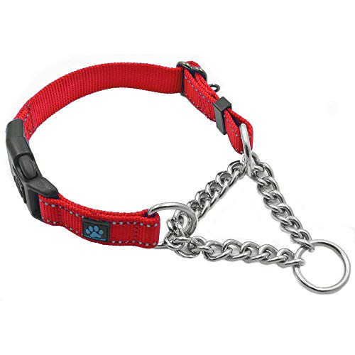 Max and Neo Stainless Steel Chain Martingale Collar - We Donate a Collar to a Dog Rescue for Every Collar Sold (Large, RED)