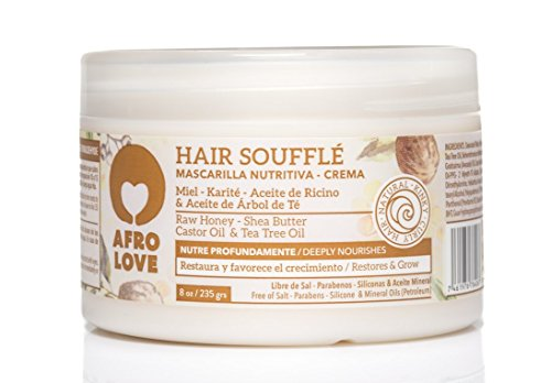 Afro Love Hair Soufflé - Mascarilla capilar sin silicona para cabello rizado, afros y encrespado, 235 g, cuidado para rizos con miel crudo, manteca de karité, aceite de ricino y aceite de árbol de té