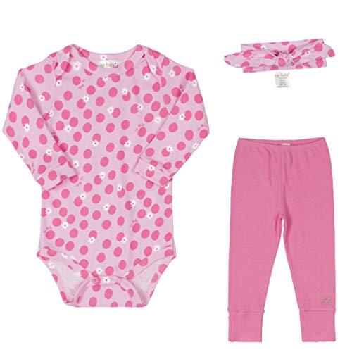 Conjunto Bebê Menina Algodão Body Calça Faixa de Cabelo 03 Peças Roupas de Bebe Bolinhas Rosa Pink Up Baby (G 9-12 meses)