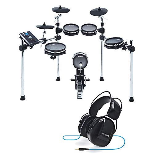 Alesis Command Mesh Kit Eight-Piece Electronic Drum Kit with Mesh Heads with Pair of Drumsticks + Alesis Drum Isolation Headphones - Deluxe Accessory Bundle