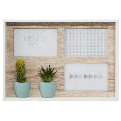 DreamHouse Marco de fotos prémium | Collage para colocar de pie o colgar para tres fotos de 10 x 15 cm | moderno y único | Marco de fotos de madera | Pared de fotos con dos plantas suculentas