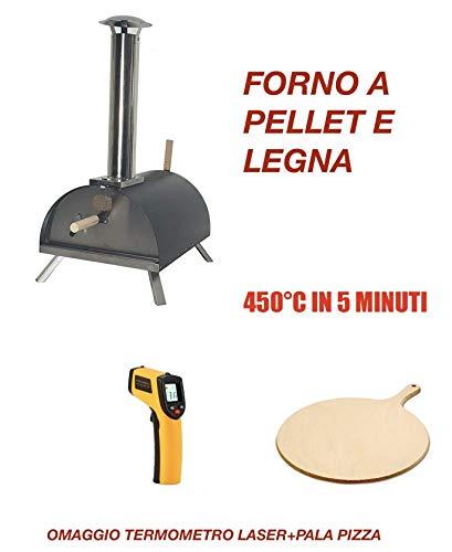 Il più Venduto: Forno per Pizza A Pellet, Legna. 450°C in 5 Minuti! 2 OMAGGI!Nuova Versione 2019